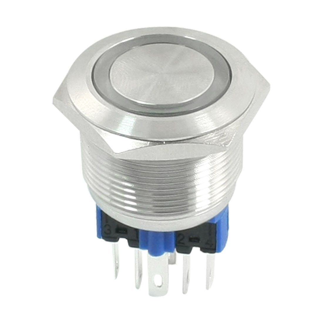 DC 24V Red LED DPST 22mm Momentary Stainless Steel Push Button Switch uxcell a14070300ux0155