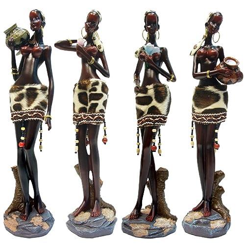 Rockin Gear African Statue Figurine Sculptures – 4 Piece Set – African Women Figurine Decor Art Statues – 12 Inches Tall – Body Sculptures Decorative Black Figurines