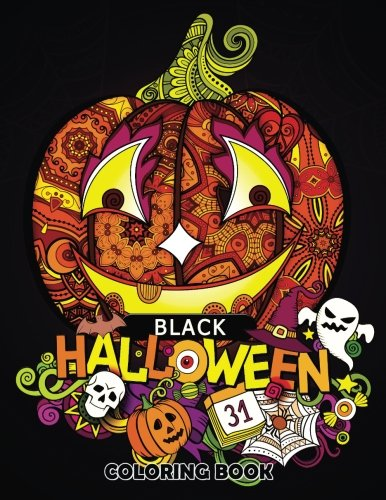 Black Halloween Coloring book: Adult Coloring Book Art Design for Relaxation and Mindfulness