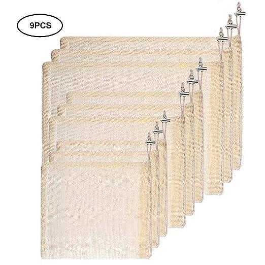 9PSC Bolsas de productos reutilizables Malla de algodón orgánico ...
