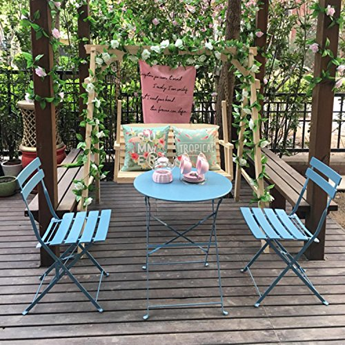Grand patio Outdoor Folding Bistro Patio Balcony Furniture Sets,Flat Foldable Chairs and Table,Blue For Sale