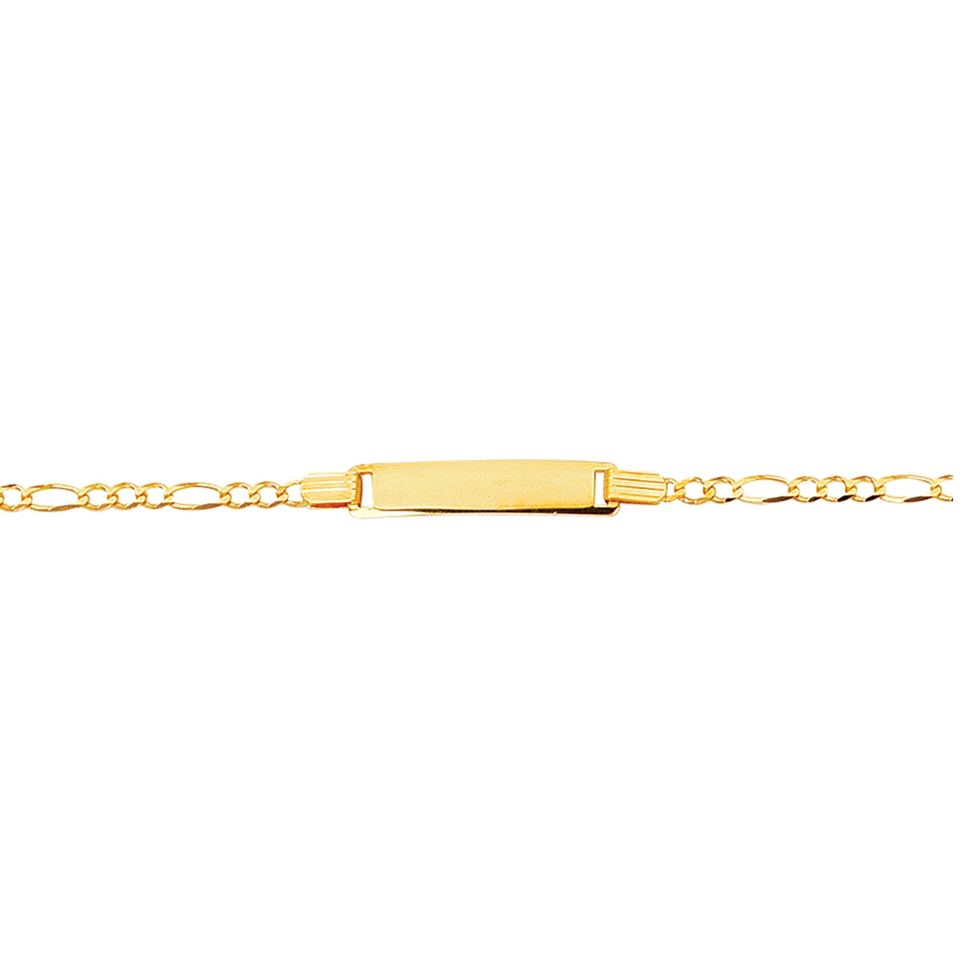 MCS Jewelry 14 Karat White OR Yellow Gold Figaro Chain Engravable Child Baby ID Bracelet (Length: 6'') (yellow-gold)