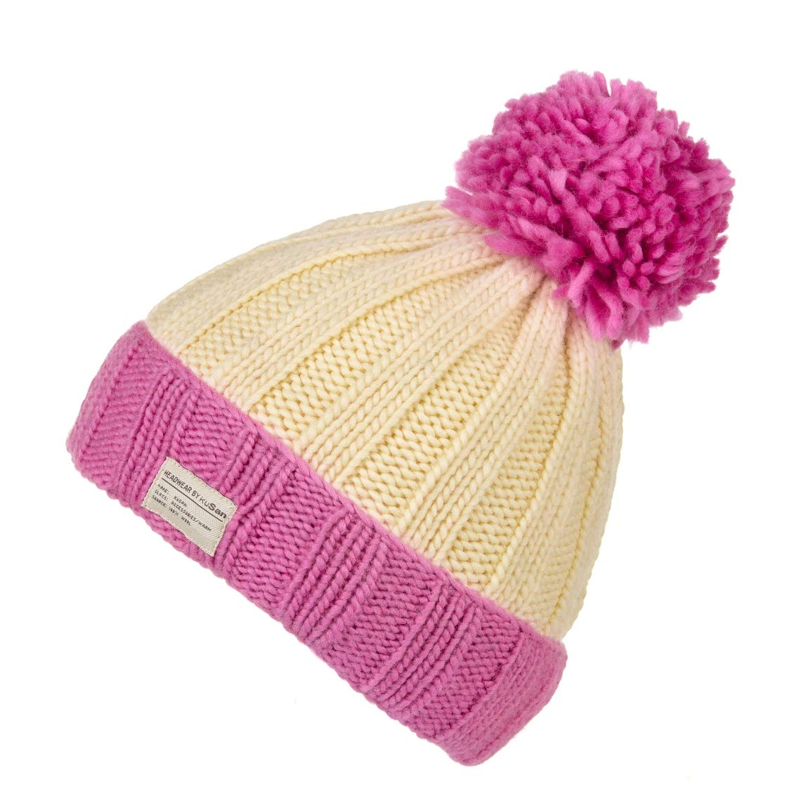 15c39b9a Kusan Moss Yarn Turn Up Bobble Beanie Hat (PK1525)