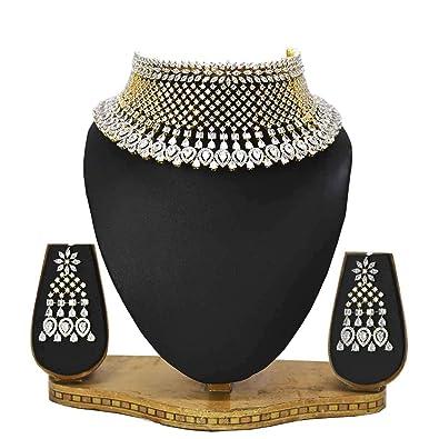 58ebefecef125a Amazon.com: Kollam Supreme White Gold Plated American Diamond ...