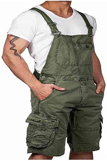 AngelSpace Mens Bib Overall Solid Plus-size Baggy Half Pants with Side Pockets