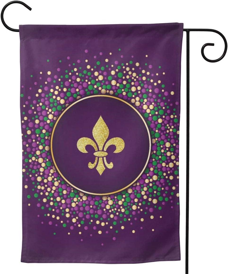 YISHOW Happy Purple Mardi Gras Holiday Garden Flag Double Sided Vertical Glitter Fleur De Lis House Flags Yard Signs Outdoor Decor 12.5