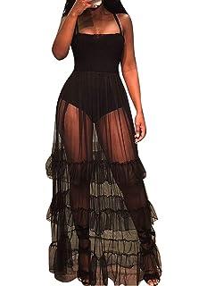 d23e2df48db Women Sexy Spaghetti Strap Sleeveless Tank Bodycon Bodysuit with Pleated  Semi Sheer Mesh Ruffle Maxi Club