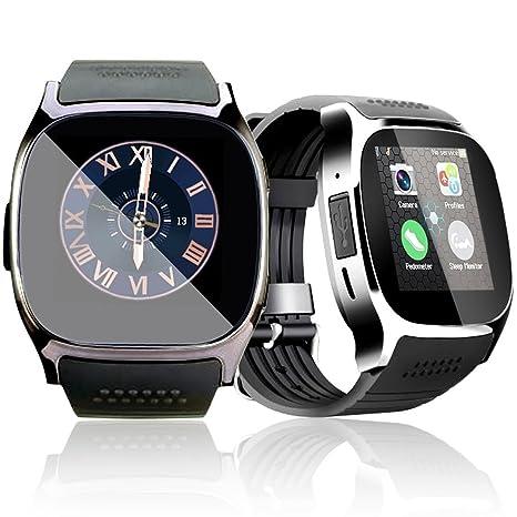 T8 Bluetooth Reloj Inteligente, Pantalla Táctil Inteligente Reloj de Pulsera con Cámara SIM TF Tarjeta