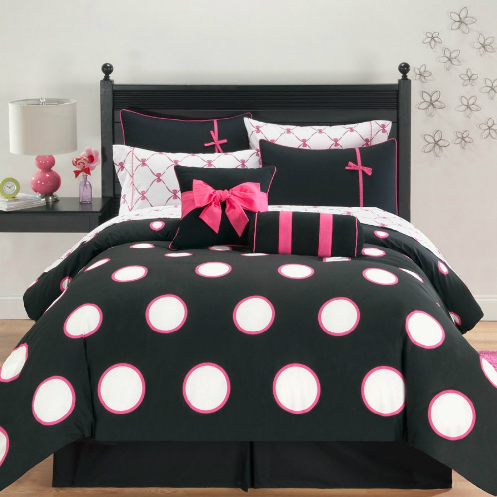 10 Pieces Black Lovely Comforter Set with White / Pink Polka Dots Pattern for Teen Girls Bedroom - Full Size