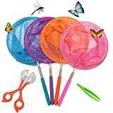 4 Packs Telescopic Butterfly Net with Free Butterfly Catcher and Butterfly Tweezers, Perfect for Catching Bugs Insect Small Fish, Extendable up to 34'' for Kids
