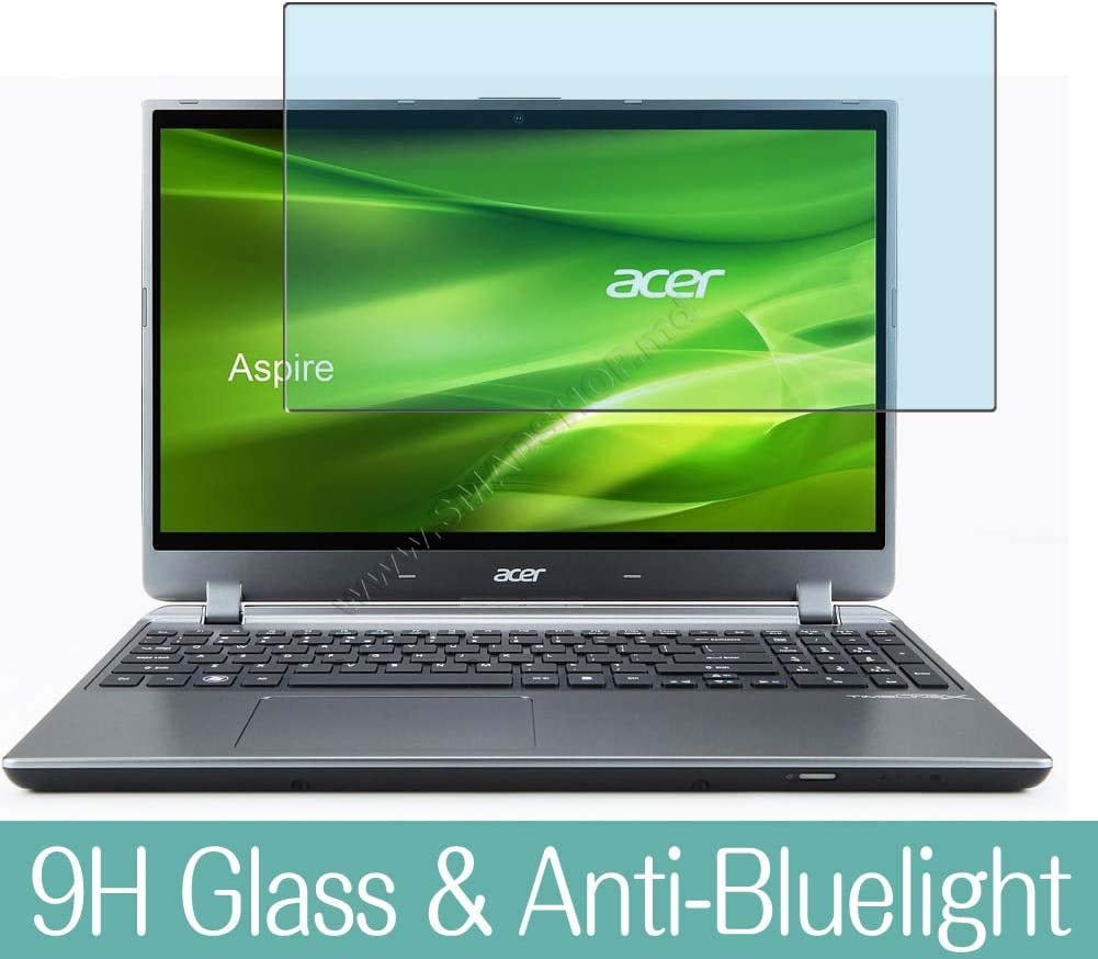 """Synvy Anti Blue Light Tempered Glass Screen Protector for ACER Aspire M5-582pt 15.6"""" Visible Area 9H Protective Screen Film Protectors (Not Full Coverage)"""