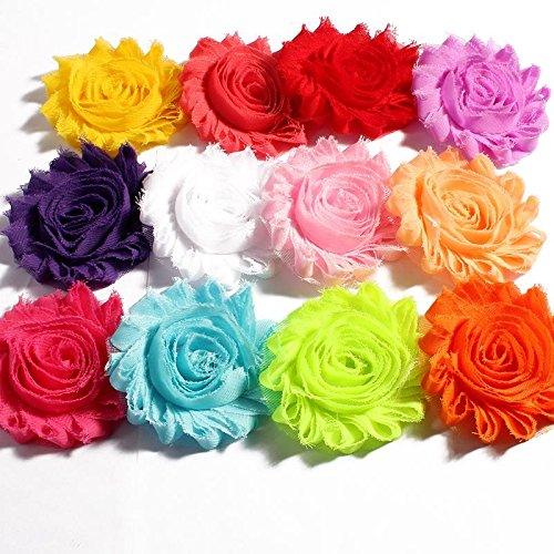 Decorations 200pcs/lot 2.6'' 15Colors Artificial Soft Shabby Frayed Chiffon Decortions Fabric Flowers for Headbands/Baby Hair Accessories by Unknown