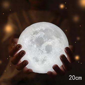 Twifer 3d Usb Led Magische Mond Nacht Licht Mondschein Tisch Schreibtisch Mond Lampe Geschenk Mit Stent 20 Cm Amazon De Beleuchtung