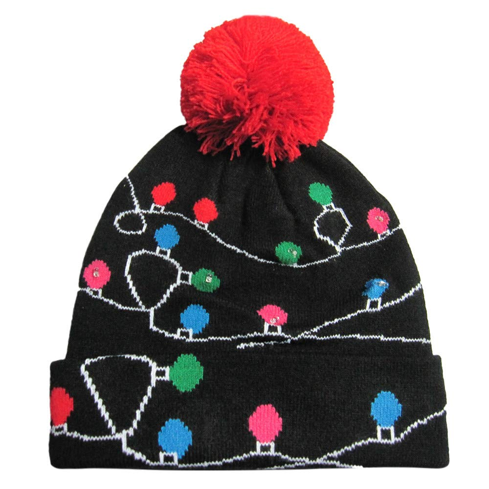 Clearance Sale Christmas Led Hat, Light-up Knitted Ugly Sweater Cap Holiday Xmas Christmas Beanie (56-58cm, G) Vanvler Christmas Clearance