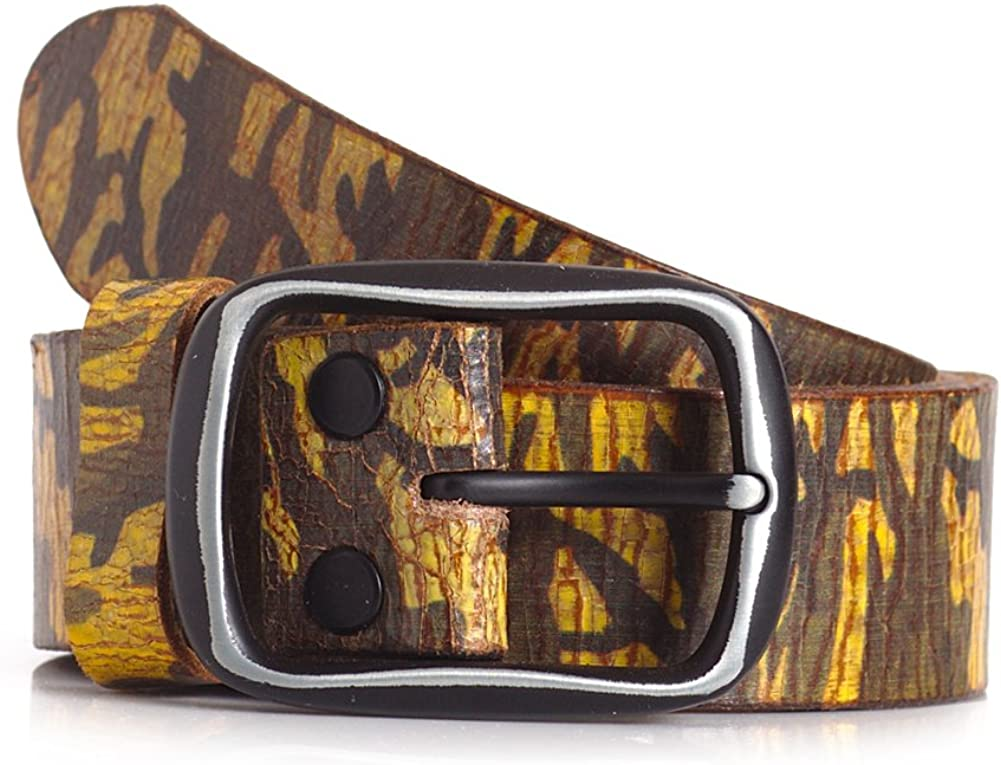 Camo Print Calfskin Leather Belt in Green and Yellow with Single Prong Buckle