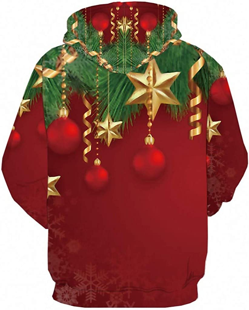 GREFER Plus Size Sweatshirts Loose Hoodies Tops Christmas Funny Pattern Light Pullover Big and Tall