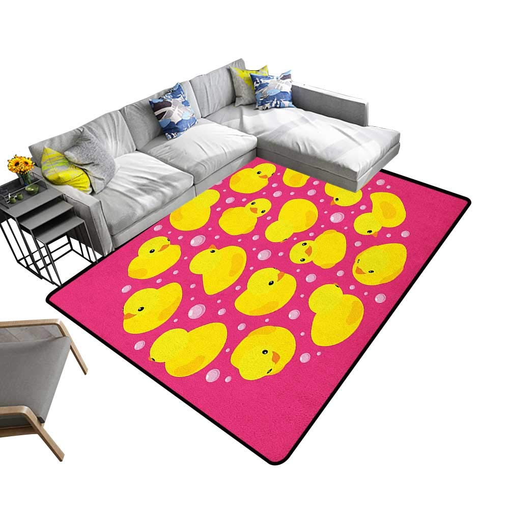 Rubber Duck Custom Pattern Floor mat Fun Baby Duckies Circle Artsy Pattern Kids Bath Toys Bubbles Animal Print 70''x106'',Can be Used for Floor Decoration