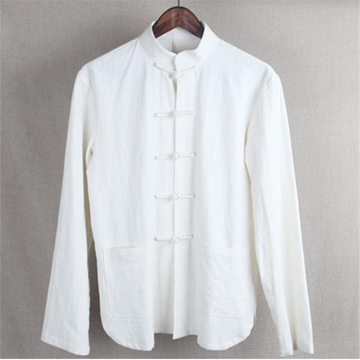 WEISAN Men Chinese Retro Stand Collar Tang Suit Cotton Linen Kung Fu Costume Jacket by WEISAN (Image #2)