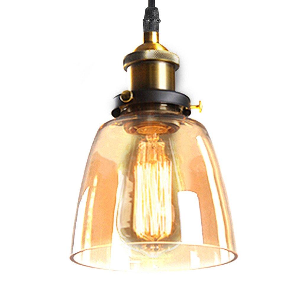 Vintage Industrial lámpara de techo de cristal pantalla de ...