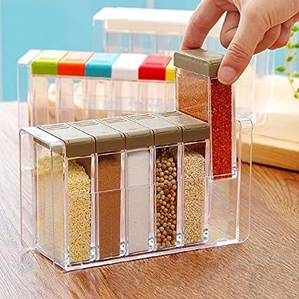 Kentop Lot de 6 pots /à /épices en plastique avec r/écipients /à /épices 18.3x6.2x10.5cm Bunte