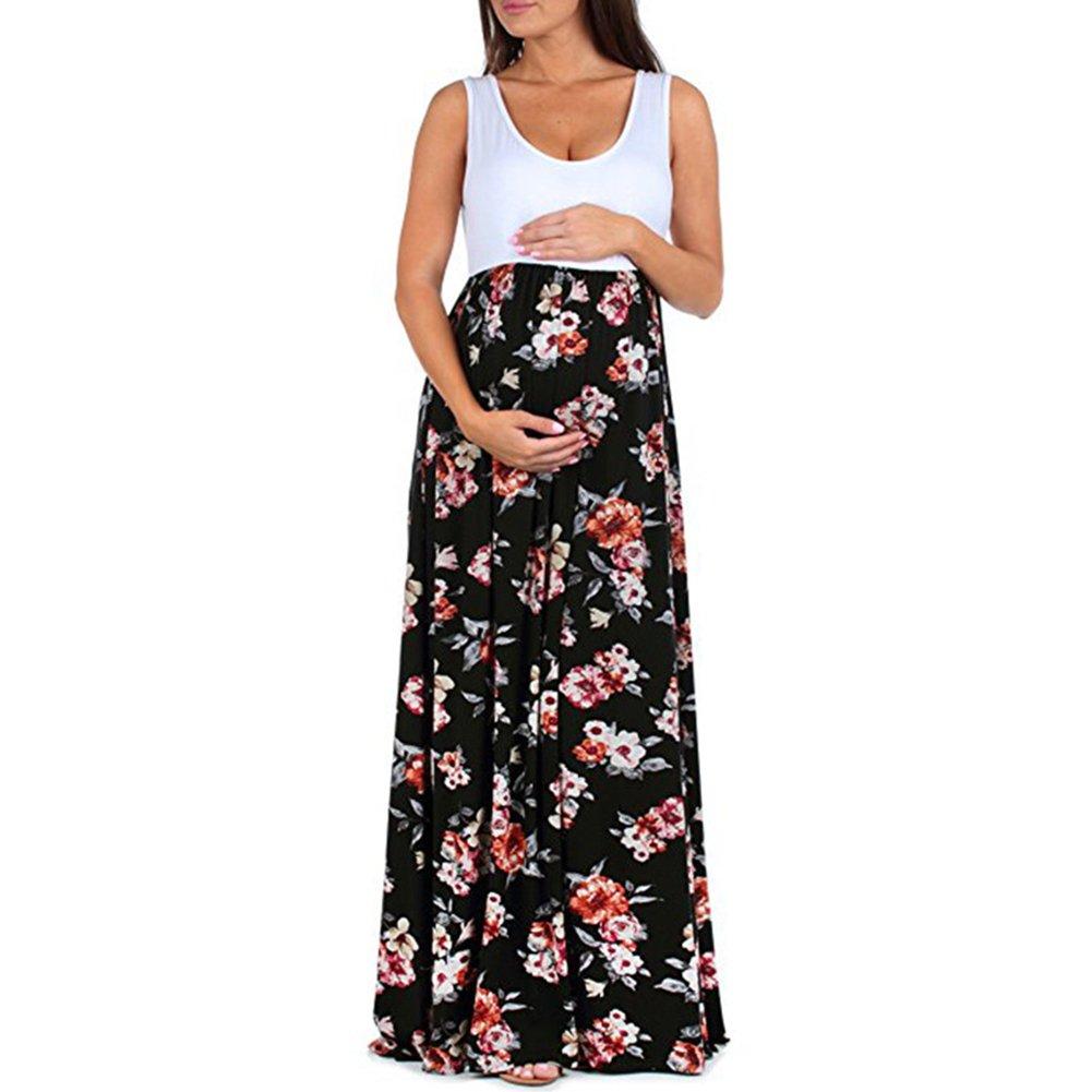 Meiyiu Women Sleeveless Printed Pregnant Dress Splicing Skirt Long Maternity Dress Gift Black Flower S