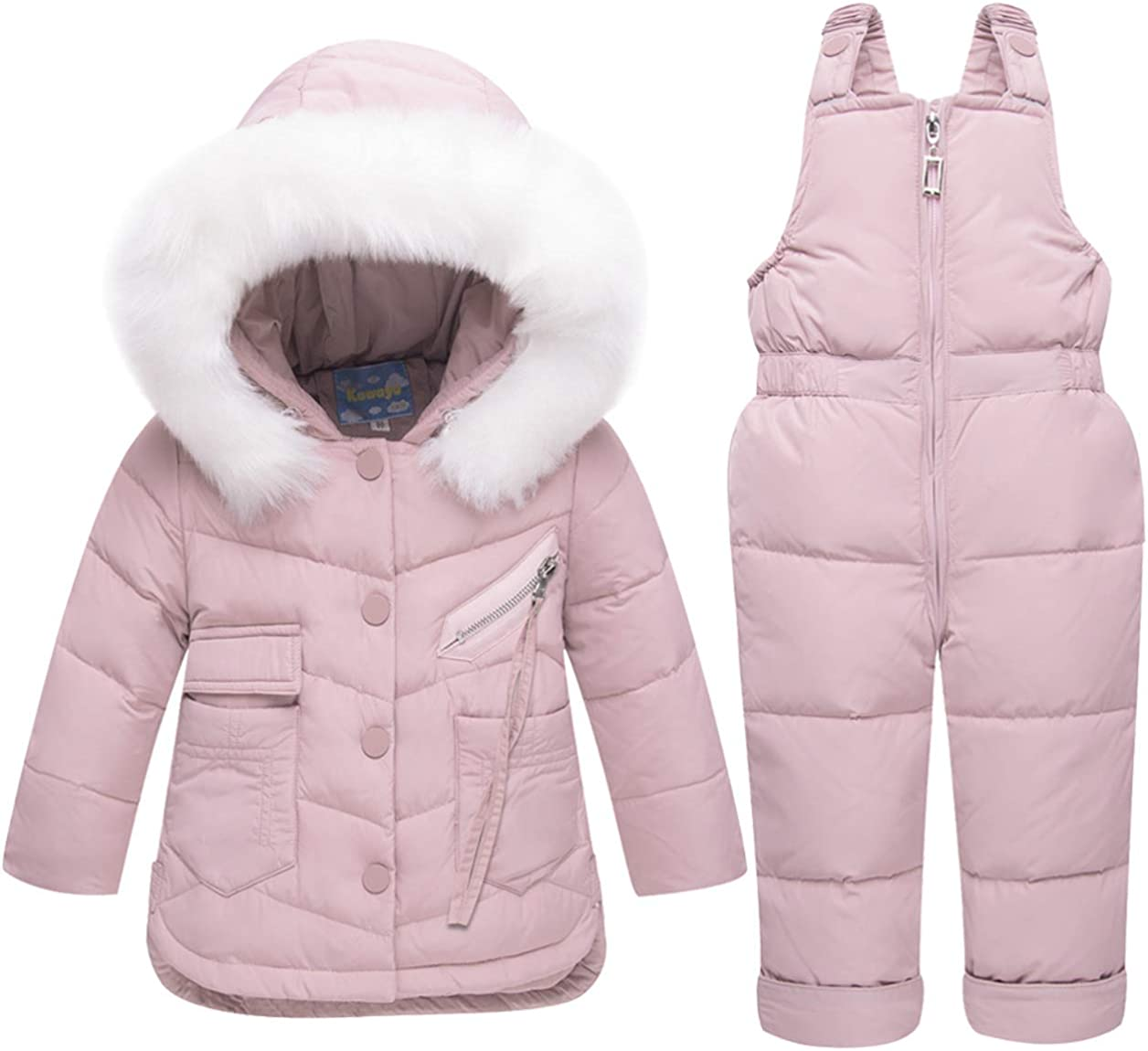 MissChild Baby Girls Winter Snowsuit Ski Snowpants Bib Down Coat Hooded Puffer Jacket 2 Piece Set Outfit