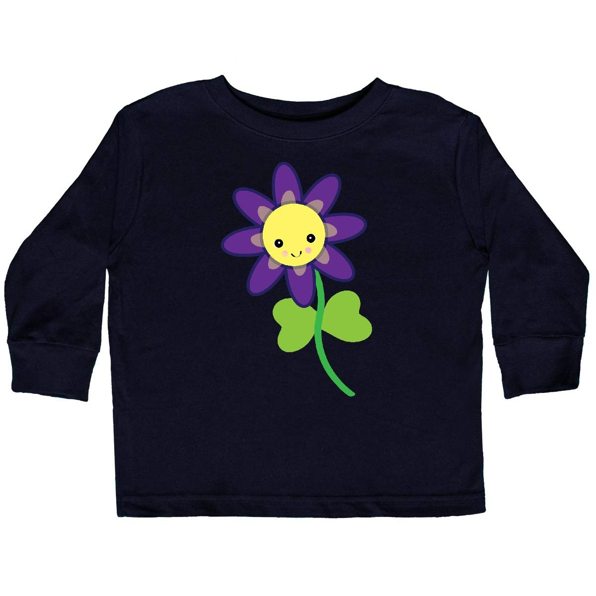 inktastic Cute Kawaii Purple and Yellow Flower Toddler Long Sleeve T-Shirt