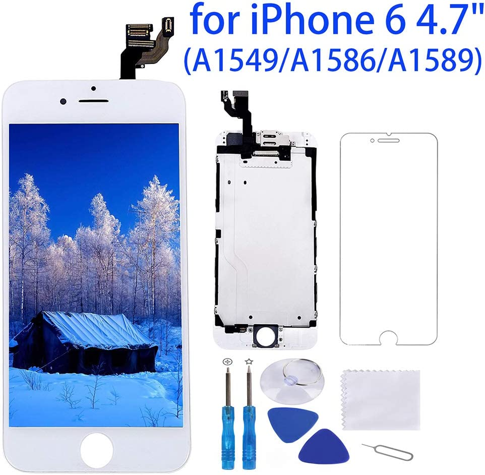 Screen Protector Ear Speaker Screen Replacement for iPhone 6 White 4.7 LCD Display Touch Digitizer Frame Full Assembly Repair Kit Repair Tools with Proximity Sensor Front Camera