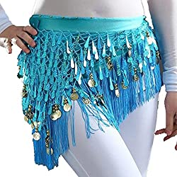 Belly Dancing Belt In Light Blue With Sequins