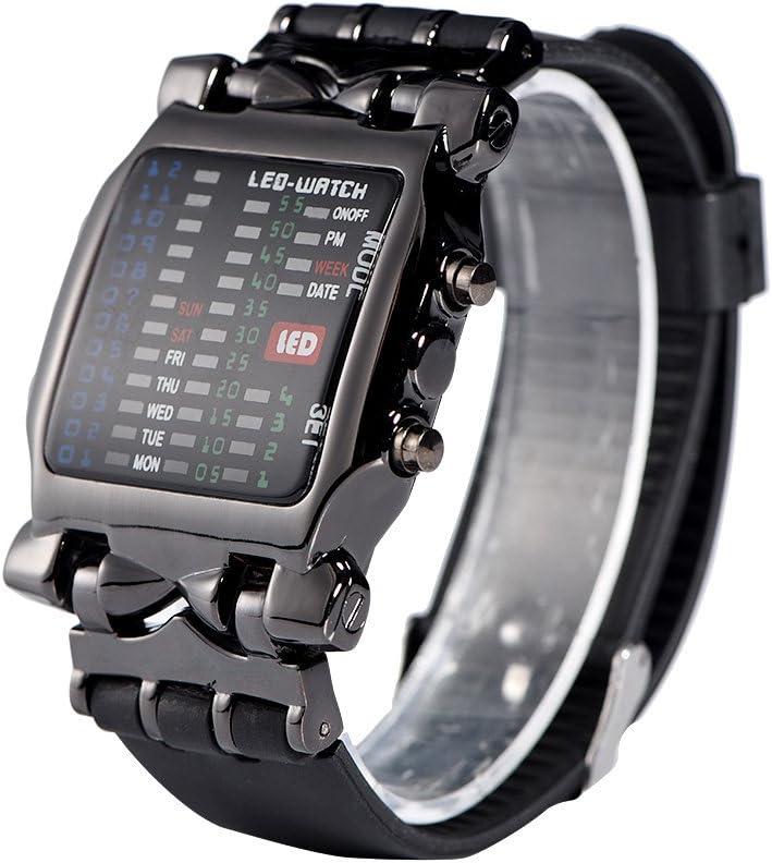 Dilwe Reloj LED Electrónico Esfera Femenina PU Correa Rectangular con Reloj de Pulsera de Fecha y Semana