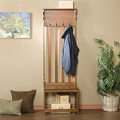 Metro Shop Upton Home Mission Oak Hall Tree Entry Bench