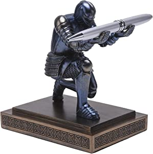 Amoysanli Knight Pen Holder Desk Organizers and Accessories Desk Decor Resin Pen Holder as Gift with a Cool Pen for Office and Home (Blue)