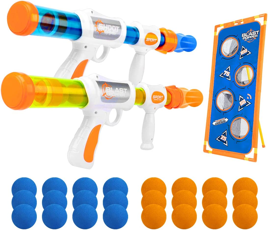 X TOYZ Air Powered Shooter Toy Guns Shooting Games Foam Ball Popper Guns and Shooting Targets, 2 Player Toy Gun with 24 EVA Foam Balls,no Battery Required, for Family or Outdoor Children's Games