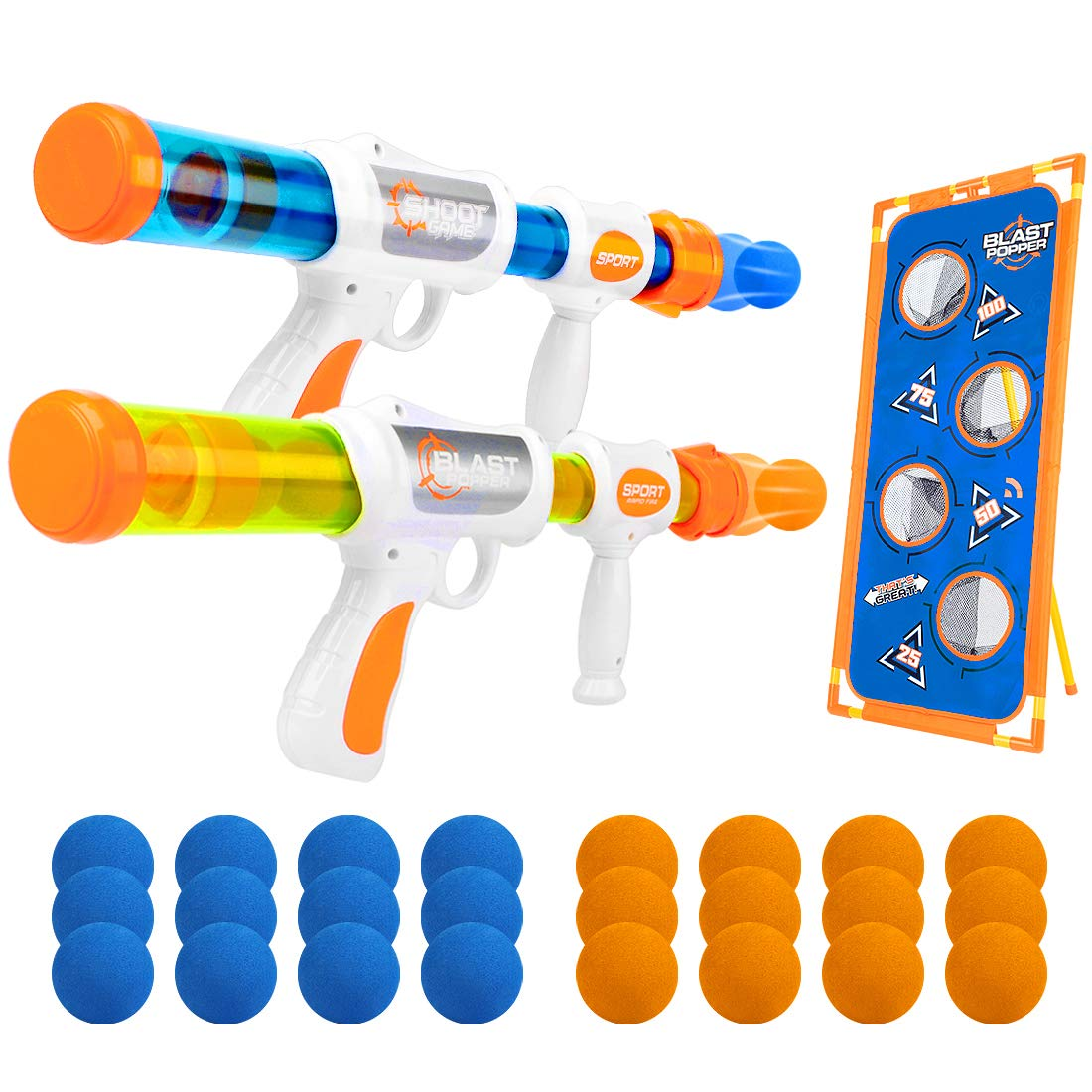 X TOYZ Shooting Game Toy for Kids Foam Ball Popper Blaster Air Toy Guns 2 Player with 24 Foam Balls and Shooting Target, Indoor Activity Family Games, Gift for Age 6+ Kids - Compatible with Nerf Guns