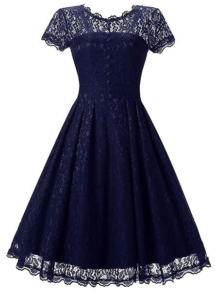 OLIPHEE Vintage 1950s Encaje Vestido de Mujer Verano Encaje Ropa de Novia zl-S