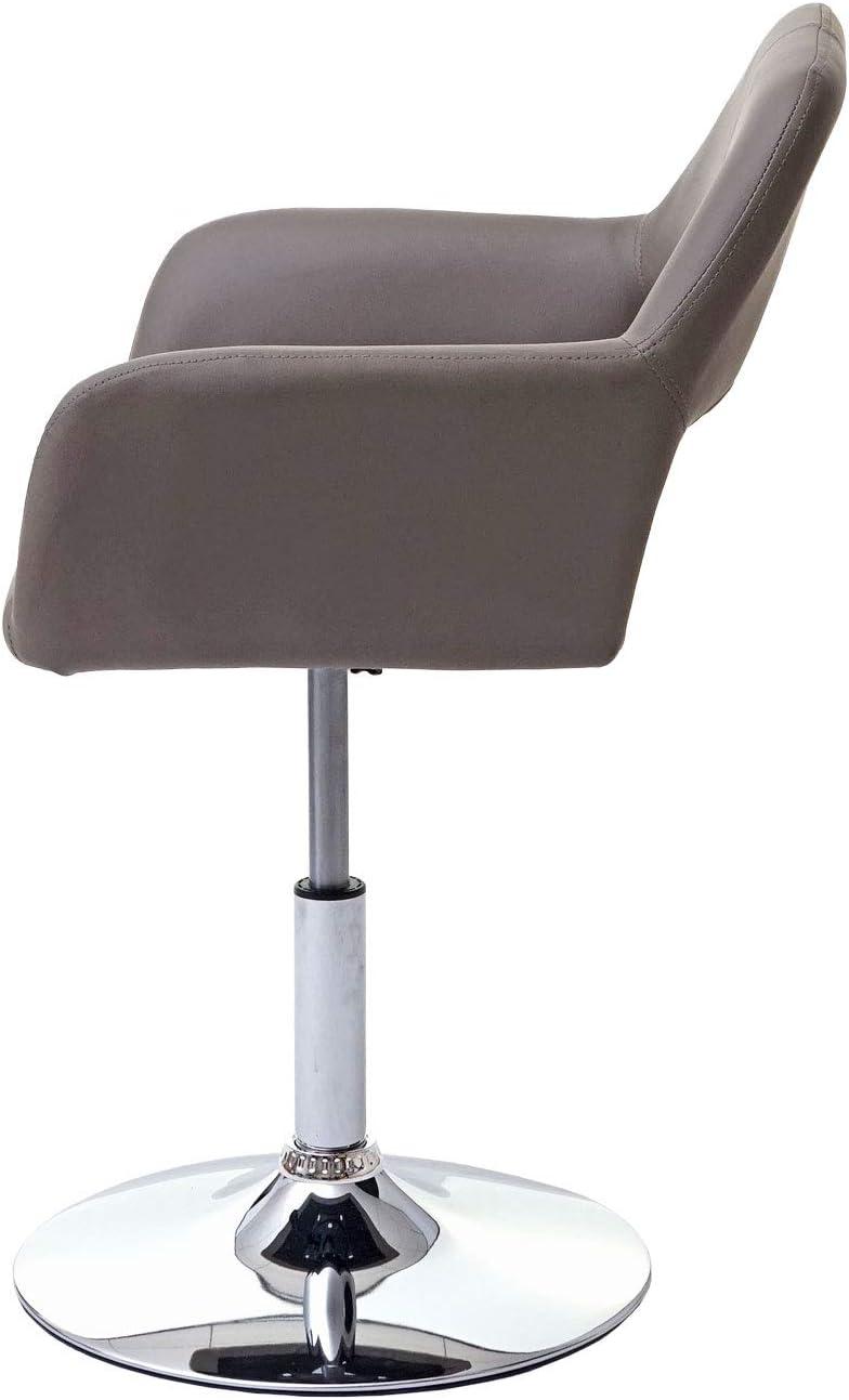 Chaise de Salle à Manger HWC-A50 III, Style rétro années 50, Similicuir ~ Couleur Taupe, Pied en métal chromé Taupe, Pied Chromé.