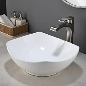 KINGO HOME Above Counter White Porcelain Ceramic Bathroom Vanity Vessel Sink