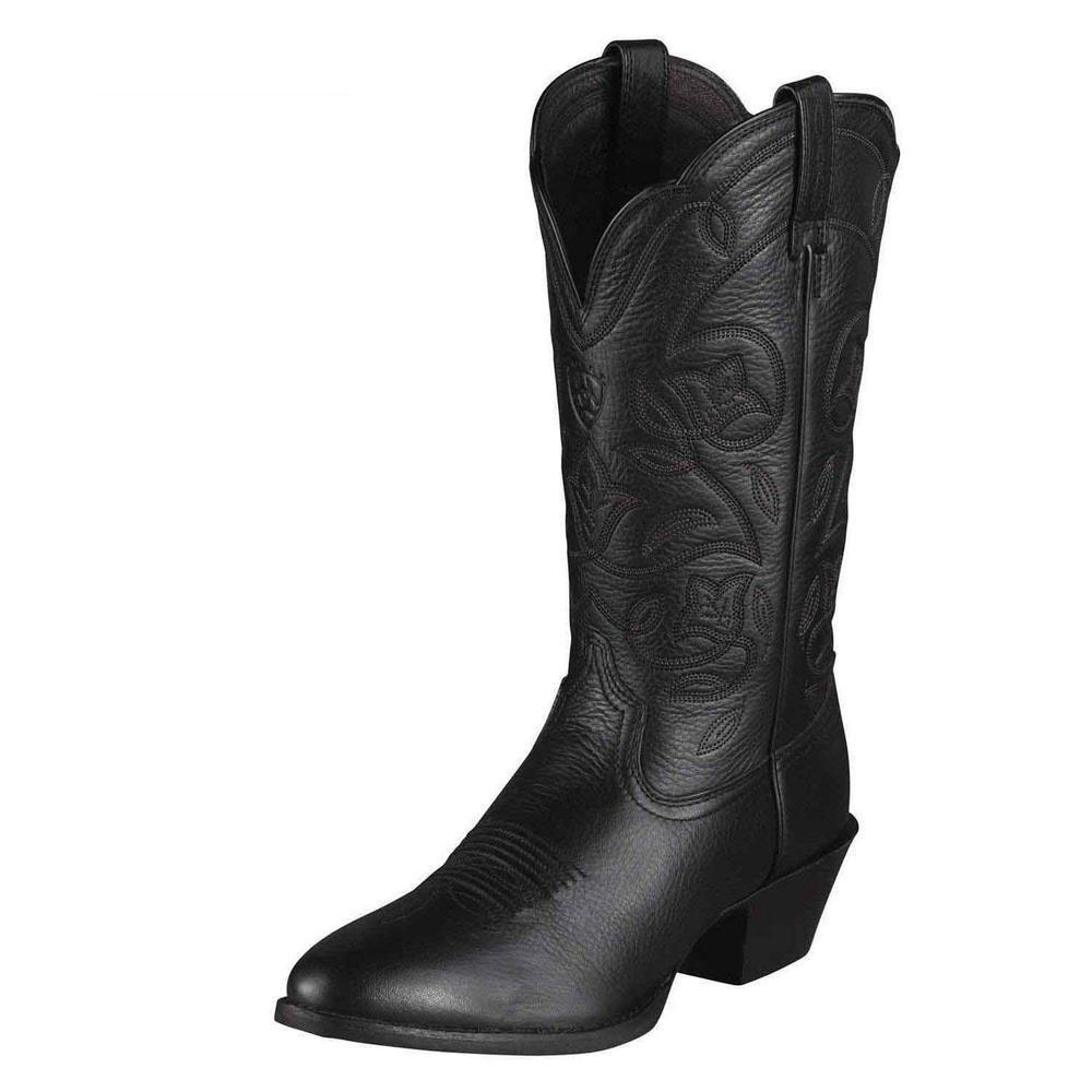 Ariat Women's Heritage Western R Toe Western Cowboy Boot B00B1AK4WW 12 B(M) US|Black Deertan