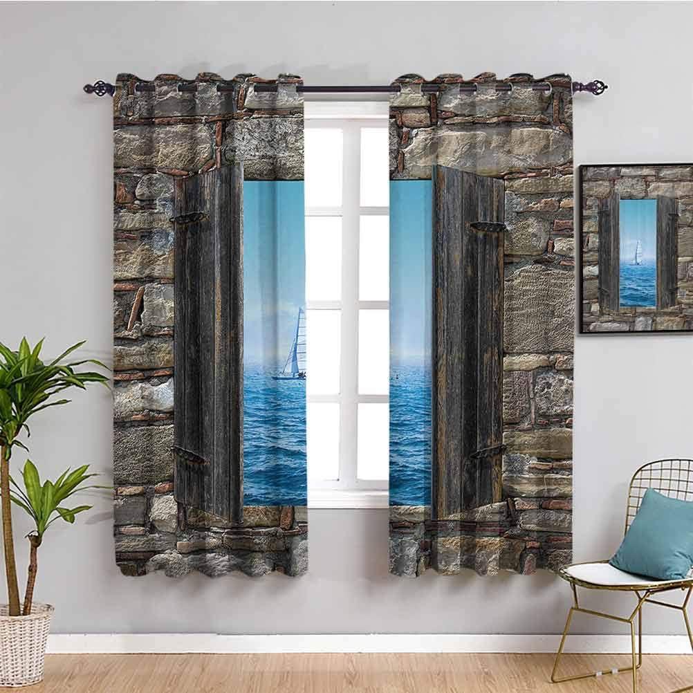 Decoración de la casa sala de estar cortinas opacas, imagen de un velero desde ventana de piedra de perspectiva angosta, impresión idílica mediterránea para sala de estar o dormitorio, gris azul W108