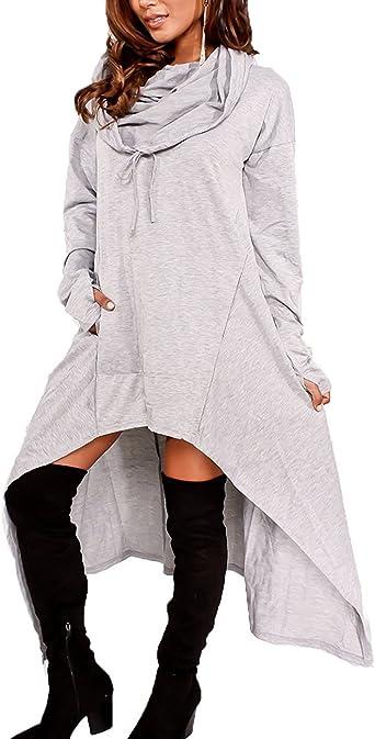 Minetom Mujer Casual Sudadera Con Capucha De Manga Larga Elegante Suelto Camisa Larga Color Sólido Blusa Tops Outwear Gris ES 44: Amazon.es: Ropa y accesorios