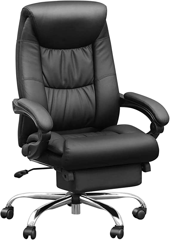 Duramont Reclining Leather Office Chair with Lumbar Support - High Back Executive Chair - Thick Seat Cushion - Ergonomic Adjustable Seat Height and Back Recline - Desk and Task Chair