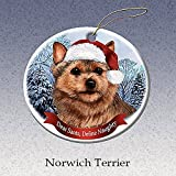 Holiday Pet Gifts Norwich Terrier Santa Hat Dog Porcelain Christmas Tree Ornament
