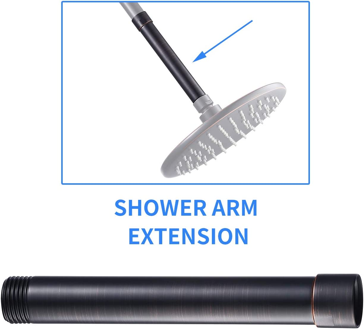 6 Inch Brass Shower Arm Extender Hardware Chrome Y200C KLXHOME Shower Head Extension Arm