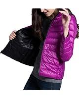 Fulok Women's Lightweight Reversible Packable Short Puffer Down Coat