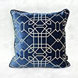HOMEE New Chinese American Modern Embroidery Manually Blue Sofa Bed Pillow Cushion Car Floating Window Panels on the Package ,30X50Cm,Csbu-20490 between,Cmbu-20056,50X50cm