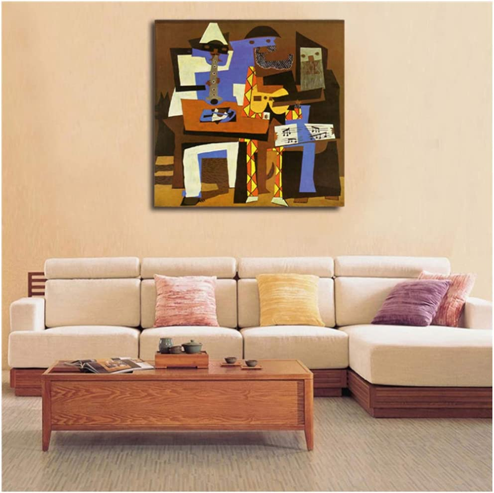 Cartel Picasso tres músicos lienzo pintura impresión sala de estar decoración del hogar arte de la pared pintura cartel salón fotos-60x60 cm sin marco