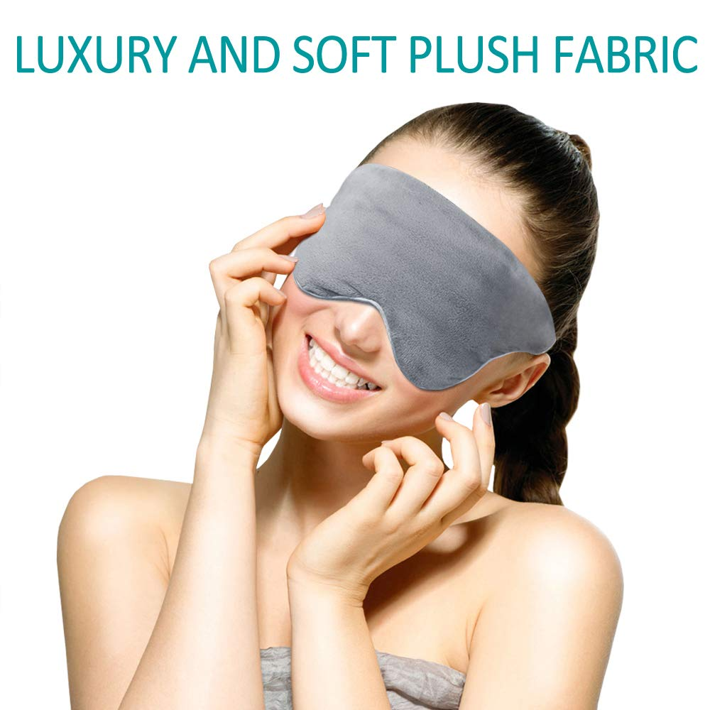 Weighted Eye Mask Pillow Adjustable Strap Blackout Eyeshade Luxury Plush Fabric Soft Breathable Cotton and Premium Glass Beads for Travel Nap