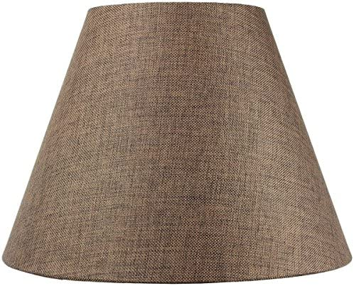 8x16x12 Hard Back Empire Lampshade – Chocolate Burlap with Brass Spider Fitter – Perfect for Table Lamps and Some Desk Lamps -Medium, Brown