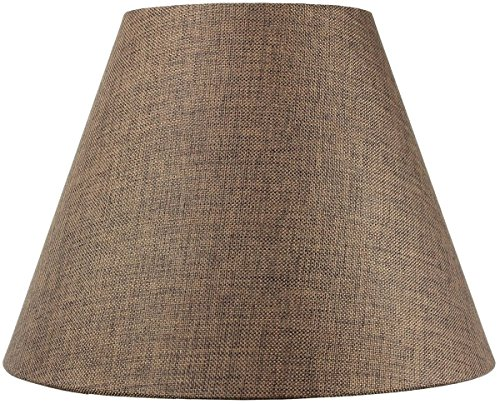 8x16x12 Hard Back Empire Lampshade - Chocolate Burlap with Brass Spider fitter By Home Concept - Perfect for table lamps and some desk lamps -Medium, Brown ()