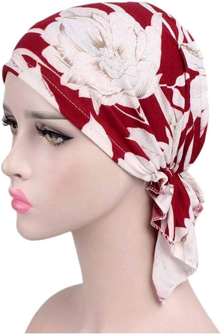 UK/_Stone Damen Blumen Feder Bl/ätter Herz Baumwolle Ethnisch Turban M/ütze Chemo Kopft/ücher Haarverlust Kopfbedeckung